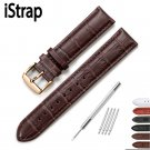 iStrap 13 14 15 16 18 19 20 21 22 24mm Rose Gold Buckle Leather Strap Black