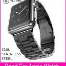 3 Pionters Black Metal Link Bracelet Watchband For Apple Watch Series 3 42m