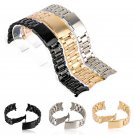 18/20/22/24mm Curved End Watch Band Unisex Stainless Steel Metal Wristwatch