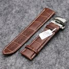 Elegant Dark Brown 18/20/22MM Genuine Leather  Watch Stainless Steel Push B