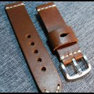 22mm Hand made Mens Genuine Leather Watch Strap Band Stainless Steel Buckle