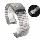 18mm 20mm 22mm 24mm Stainless Steel Milanese Shark Mesh Watch Band Strap Si