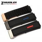 High quality 27*19mm(lug) Black Rubber Watchnand soft Strap Bracelet Waterp
