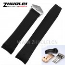 HOT 22mm New Top grade Black Diving Silicone Rubber Watch Band Strap with s