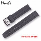 MS Silicone Watch Band Black Stainless Steel Buckle Watchband Rubber Strap