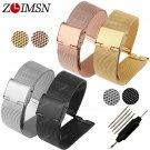 ZLIMSN Mesh Stainless Steel Watch Band Strap Watchbands Silver Black Rose G