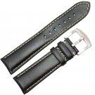 Smooth Genuine Leather Watchbands Black Dark Brown Bracelet 18 19 20 21 22