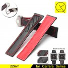 22mm Calf Genuine Leather Bracelet for Tag Carrera Watchband Folding Buckle