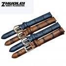 Retro Genuine leather watchband brown blue fashion Bracelet for women 6mm 8