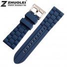23mm (Buckle 20mm) NEW High Quality Men black Blue Waterproof watchband Div