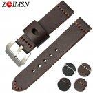 ZLIMSN 22 24mm Thick Genuine Leather Watchband for Men Women Black Brown Wa