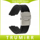 23mm 24mm x 9mm 10mm 11mm Convex Watch Band Silicone Rubber Watchband Stain