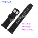 UYOUNG Watchband For Casio PRG 130Y/PRW 1500YJ Watch bands Black Silicone R
