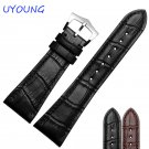 25mm High Quality Genuine Leather Watch Bands Strap Black Brown Silvery Buc