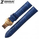 16mm 18mm 19mm 20mm New Blue Alligator Grain Genuine Leather Watch Band Str