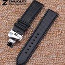 Red stitch thread Fashion stylish Carbon fiber pattern watch band straps 18