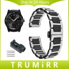 22mm Ceramic & Stainless Steel Watchband + Link Remover for LG G Watch W100