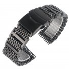 20mm 22mm 24mm Shark Mesh Silver/Black Watch Band Stainless Steel Replaceme