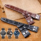 Calf Genuine Leather Bands Folding Clasp for IWC PILOT'S WATCHES CHRONOGRAP
