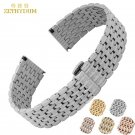Stainless steel watchband Thin solid metal bracelet 12 14  18 20 22mm watch
