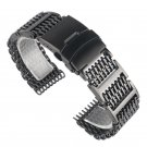 20/22/24mm HOT Black Silver Mesh Bracelet Folding Clasp with Safety Solid L