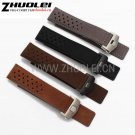 22mm  Top grade Genuine Leather Watch Band silver Black deployment Watch bu