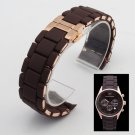 Rubber watchband Steel in Brown silica gel rose gold clasp  for AR5890 man