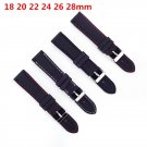 18 20 22 24 26 28 mm 1pc Black Silicone Rubber Waterproof Watch Band Strap