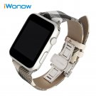 Calf Leather Watchband Grid Pattern Strap for iWatch Apple Watch 38mm 42mm