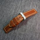 Good quality  Italy double Leather Men Watchbands   Watch Band Strap Stainl