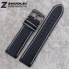 18mm 20mm 21mm 22mm 23mm 24mm Premium Carbon Fiber Leather Lined Strap BLAC