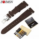 ZLIMSN 20mm Genuine Leather Watch Bands Replacement Grey Brown Black Yellow