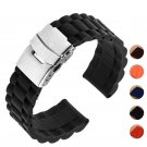 5 colors 18mm 20mm 22mm 24mm Universal Watch Band Silicone Rubber Link Brac