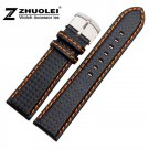 20mm 21mm 22mm 23mm 24mm  Watch Band Carbon Fibre Watch Strap With Orange S