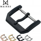 MAIKES New 18mm 20mm Leather Watch Band Strap Buckle Black 316L Stainless S