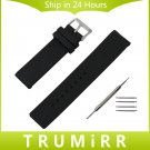 Silicone Rubber Watch Band Universal Watchband Stainless Steel Buckle Strap