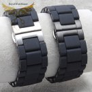 20mm 23mm Watch Band Black Silicone Rubber Wrapped Stainless Steel Watch Ba