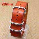 20MM Orange Brown Fashion Genuine Leather Stainless Steel Wrist Quartz Watc
