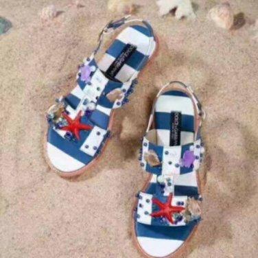 D&G Shell Embellished Striped Sandals (Blue)