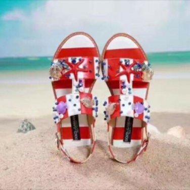 D&G Shell Embellished Striped Sandals (Black)