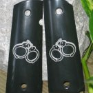 GRIPCRAFTER  BLACK SPECIAL ENGRAVED HANDCUFF 1911 grips