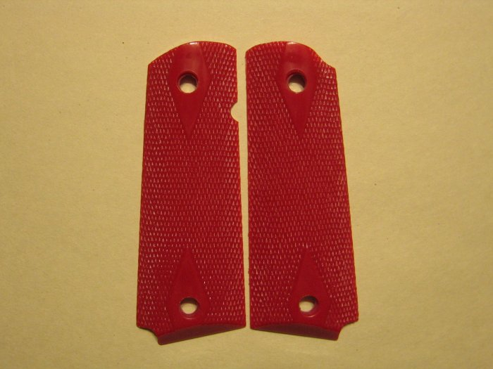 GRIPCRAFTER RED DOUBLE DIAMOND COLT KIMBER 1911 GRIPS