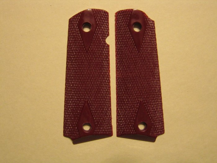 GRIPCRAFTER MAROON RED DOUBLE DIAMOND COLT KIMBER 1911 GRIPS
