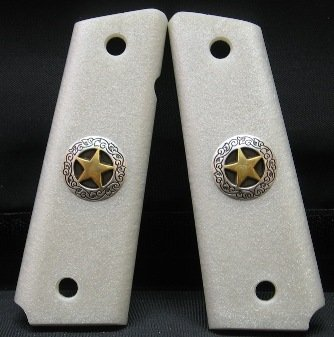 GRIPCRAFTER SLIM LINE METALLIC PEARLITE GOLD/SILVER TEXAS STAR1911 COLT KIMBER GRIPS