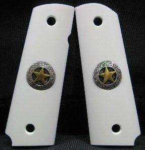 GRIPCRAFTER SIM. IVORY GOLD/SILVER TEXAS STAR 1911 COLT KIMBER GRIPS