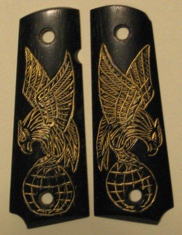 GRIPCRAFTER BLACK CARVED 18KT GOLD EAGLE 1911 COLT KIMBER 1911 GRIPS