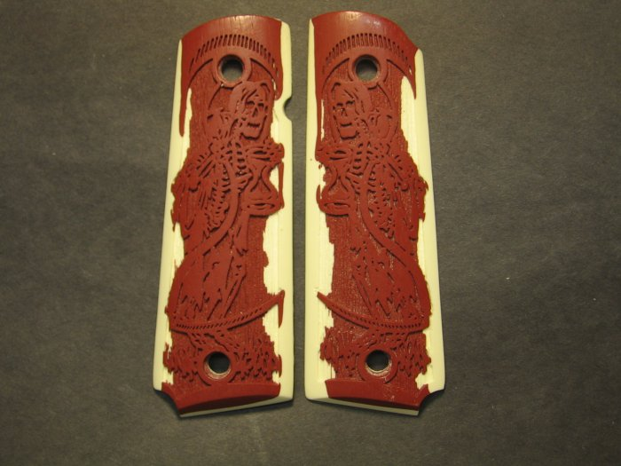 GRIPCRAFTER CARVED SIM.IVORY AND BLOOD RED GRIM REAPER 1911 COLT KIMBER GRIPS