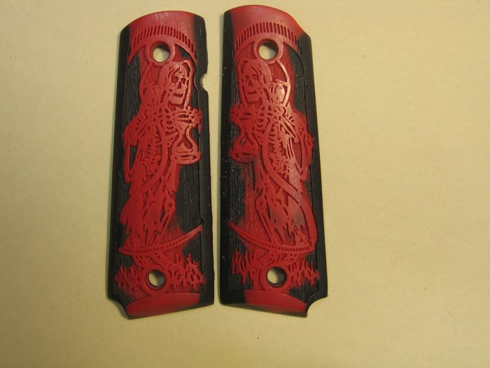 GRIPCRAFTER BLACK AND RED CARVED GRIM REAPER 1911 COLT KIMBER GRIPS