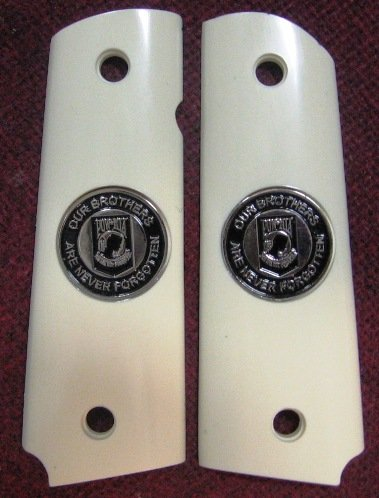 GRIPCRAFTER SIM. IVORY  GRITTY GRIP POW-MIA 1911 COLT KIMBER GRIPS