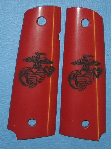 GRIPCRAFTER RED 'U.S.MARINE' 1911 COLT KIMBER GRIPS